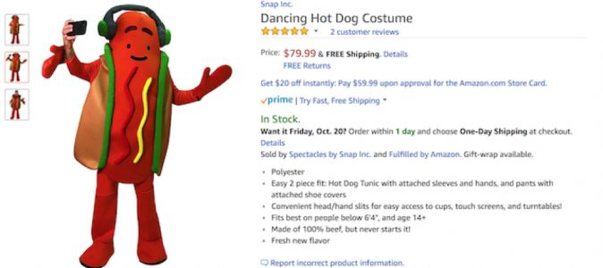 Le costume hotdog dansant de Snapchat est disponible sur Amazon !