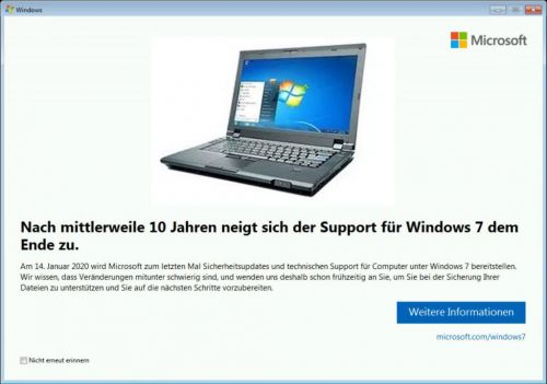 Windows 7, la notification de fin de vie fait son apparition
