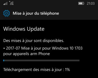 Mise à jour de Windows 10 disponible