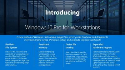 Windows 10 Pro for Workstations, Microsoft annonce une nouvelle version de Windows 10 Pro