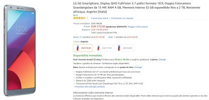 Bon plan:  LG G6 à 580€ au lieu de 749€ sur Amazon IT
