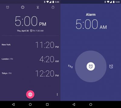 Un design minimaliste pour l'apps Android Clock de Google
