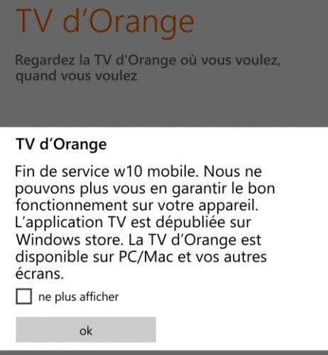 Orange TV n'émettra bientôt plus sur Windows Mobile !