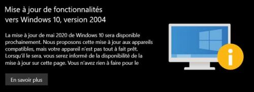 Comment savoir si Windows 10 May 2020 Update est disponible ou non pour son PC ?