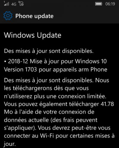 Mises à jour de Windows & Windows 10 Mobile disponibles