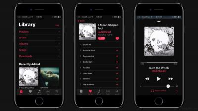 Concept iOS 11:  mode nuit et interface inspirée d'Apple Music