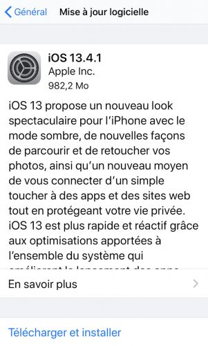 IOS et iPadOS 13.4.1 disponibles