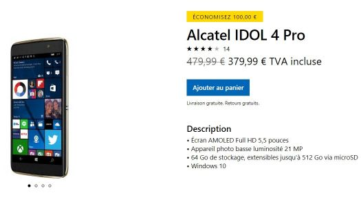 Plan Foireux:  Windows Phone Alcatel IDOL 4 Pro à 380 Euros !