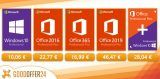 Windows Pro 11,07€, Office 2016 Pro 25,69€ and Office 2019 46,47€