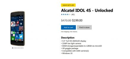 Windows 10 Mobile, Microsoft fracasse le prix de l'Alcatel IDOL 4 Pro