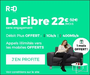 SFR Red Box:  abonnement internet Fibre 1Gb/s à 22 euros/mois sans engagement !