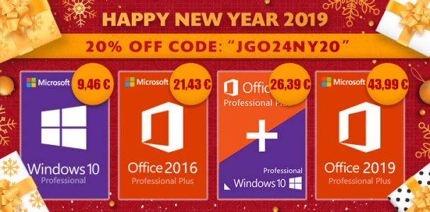 Promo du Nouvel An 2019:  Windows 10 Pro à 9,49 €, Office 2016 Pro à 24,43 €